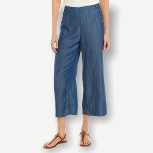 New Directions Button Waist Cropped Pants Blue S